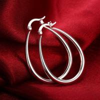 ingrosso petali di fiori rosa arancione-New Fashion Big Circle Round Hoop Orecchini pendenti Big Silver Plated Geometric Loop ovali Orecchini a goccia Orecchini donna