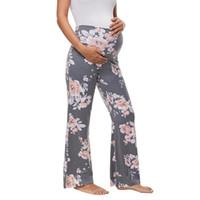 ingrosso pantaloni di lavoro di yoga-Maternità a gamba larga pantaloni stampata floreale delle donne pantaloni a vita alta Etero Pantaloni Yoga Work Planet Gravidanza Pant nuova GGA2758