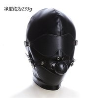 Wholesale sex toys headgear resale online - Adult Games Sex Product Fetish Hood Headgear With Mouth Ball Gag PU Leather BDSM Bondage Sex Mask Hood Toys For Couples for sex Y191203