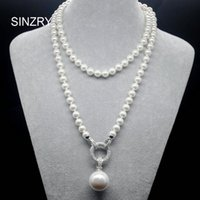 Wholesale pearl cubic jewelry pendants resale online - SINZRY exquisite jewelry AAA cubic zircon simulated pearl pendant long sweater necklaces Korean Party jewelry accessory V191212