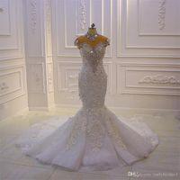 Wholesale satin wedding dresses dubai resale online - 2020 New Luxurious High Neck Crystal Beaded Mermaid Wedding Dresses Vintage Arabic Dubai D Flowers Plus Size Bridal Gown