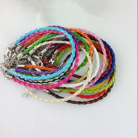 Wholesale cross cords resale online - inch Bracelets Bangles Pu Bracelet Candy Color PU Knitted Bracelet Leather Cord Bracelet