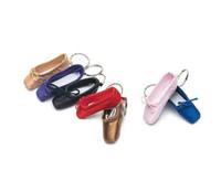 anéis chaves lisos venda por atacado-Sapatilha de Dança Keychain Mini personalizado Ballet presente cetim Pointe Flats Chaveiro Rosa sapatos de dança de encanto do saco cadeia