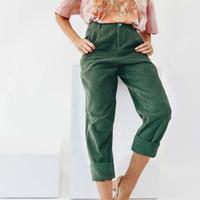calças de veludo de corda venda por atacado-2018 Moda Casual Mulheres Harem Pants Corduroy Mulheres Calças Soltas Perna Larga Calças Compridas Calças De Veludo Macio Corredores Y19071601