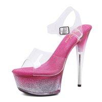 yeni moda sandaletler toptan satış-2019 Yeni Moda Seksi Köpüklü Düğün Ayakkabı Kalın soled Kadın Için Yüksek topuklu Plaj Sandalet