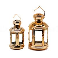 Wholesale metal home decor candle lanterns resale online - Hollow Candlestick Hanging Lantern Candle Holder Hanging Lantern Home Decor Wedding Decoration Vintage Hanging Lantern KKA7518