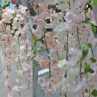 ingrosso vite di ciliegio-180 cm Long Sakura Cherry blossom Rattan Fiori artificiali per la festa di casa Decorazione di nozze Silk Ivy Vine Wall Hanging Hanging Ghirlanda