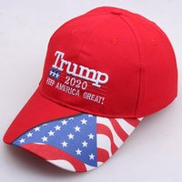 Wholesale cap stars resale online - Donald Trump Baseball Cap Make America Great Again hat Star Striped USA Flag print sports outdoor cap LJJA3625