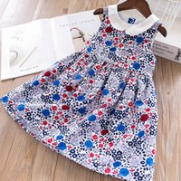 Wholesale western summer clothing for sale - Girls Kids Vintage Western Fashion Floral Print Sleeveless Clothing New Summer Ruffles Sweet Children Dresses