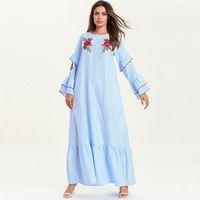 traje de satén traje de mujer al por mayor-Vestidos Compridos Ramadán Abaya Femme Kaftan árabe de Dubai hijab musulmán vestido maxi Eid Caftan Marroquí Elbise Robe Longue Boheme