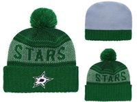 gorritas tejidas blancas al por mayor-Dallas Stars Hockey sobre hielo Gorros de punto Bordado Sombrero Ajustable Gorros Snapback Bordados Negro Verde Blanco Sombreros Cosidos Un tamaño