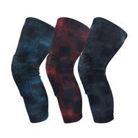 дышащие баскетбольные коленные подушечки оптовых-1pc Knee Support Pad Sleeve Polyester Spandex Breathable Anti Bump Outdoor Fitness Basketball Leg Protector New