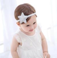 fotos lindas del bebé de la muchacha al por mayor-New Cute Baby Girl Star Headband Kids Hair Band Headwrap Princess Headband Photo Prop Niños Accesorio para el cabello 14358