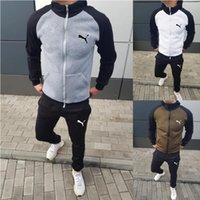 Wholesale New fashion men sport clothing suit two piece set printed zipper cardigan jackets tops and pants tracksuits jogging sets