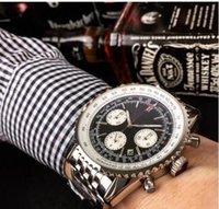 safir kristal kuvars saat toptan satış-Sıcak Satış Kuvars OS Hareketi 1884 Navitimer Chronograph İzle Erkekler Safir Kristal Siyah Kadran Paslanmaz erkek İzle Montre Homme