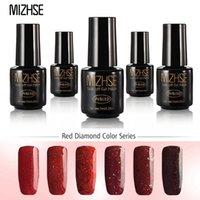 rote gelmaniküre großhandel-MIZHSE Red Diamant-Farben-Serie UV-Gel-Nagel-Maniküre-Diamant-Funkeln UVnagellack Pailletten Gel Qualität tränken verdrücken