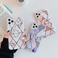 Soft TPU Plated Cover Phone Grip Holder Marble Case for iPhone 12 mini 11 Pro XS Max XR X 6 7 8 Plus