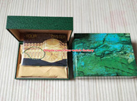 Wholesale watch box leather luxury resale online - 5pcs Luxury High Quality Perpetual Green Watch Original Box Card Wood Boxes For Sea Dweller Watches