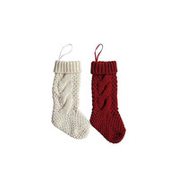 Wholesale r socks resale online - Crochet Cable Knit Stockings Knit Christmas Stockings Handmade Hanging Socks For Christmas Party Home Decoration White R