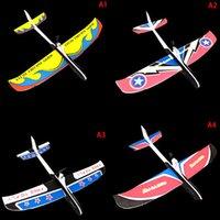 freies elektrisches flugzeug großhandel-DIY Flugzeug Modell Pädagogisches Spielzeug für KidsHand Werfen Flugzeug freifliegender Fix Wing Foam Capacitor Electric Glider