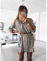 vestido sem cinto venda por atacado-Vestidos Das Mulheres Manchado Listras Moda Feminina Com Decote Em V Manga Comprida Serpente Camisa de Impressão Sexy Vestido Sem Cinto Tamanho S-XL