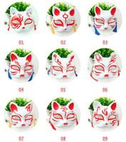 kedi partisi malzemeleri toptan satış-Kedi Tilki Şekli Maskeleri Japon PVC Tilki Parti Maskeleri Masquerade Cosplay Parti Malzemeleri Plastik Yarım Yüz Cadılar Bayramı Maskesi GGA2049