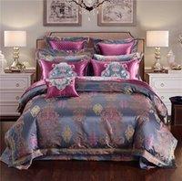 algodón egipcio satinado al por mayor-Oriental bordado FLST juego de sábanas de lujo de algodón egipcio ropa de cama de satén boda conjunto conjuntos reina rey tamaño Funda nórdica hoja de cama