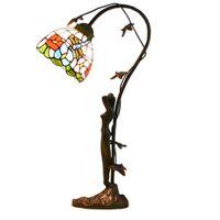 lumières méditerranéennes achat en gros de-Tiffany Coloré Ombre Chambre Lits Côté Table Lumière Méditerranée Européenne Résine Beauté Sculpture Base Salle D'étude Bureau Lampe