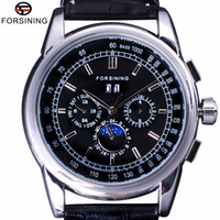 ingrosso orologio scala-Forsining lusso Moon Phase design ShangHai Modo Movimento Casual Wear Guarda Scala automatico quadrante Mens Watch Top Brand di lusso