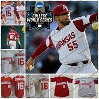 camiseta de béisbol 55 al por mayor-CWS 2019 NCAA Arkansas jersey de béisbol de 55 Isaías 33 Campbell Patrick Wicklander 22 Curtis Jr. Washington 25 Cristiano Franklin S-4XL