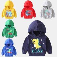 çocuklar dinozor hoodies toptan satış-Çocuklar Karikatür Dinozor Hoodies Sonbahar Rahat Mektup Dinozor Baskılı Hoodies Çocuklar Giysi Tasarımcısı Erkek Tişörtü 6 M-5 T 04
