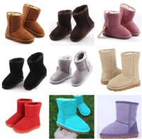 bebek kızları için ayakkabı markaları toptan satış-Sıcak tasarımcı ayakkabı Erkek ve Kız Avustralya Tarzı Çocuklar Bebek Kar Botları Su Geçirmez Slip-on Çocuk Kış Inek Deri Çizmele ...