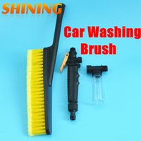 Wholesale water brush car resale online - Auto Car Wash Washing Brush Retractable Long Handle Switch With Water Flow Foam Gun Soft Bristle Auto Clean Cleaning Tools