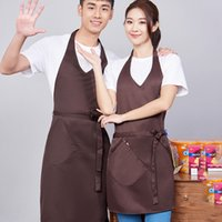 Wholesale home cooking tool resale online - Cooking Kitchen Apron Pure Color Dinner Party Baking Apron BBQ Polyester Apron For Woman Men Home Kitchen Tool Aprons Cafe Aprons DBC BH2672