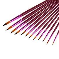 farklı boylar saç toptan satış-12 Adet / grup Naylon Saç Boya Fırçası Farklı Boyut Sanatçı Ince Yağlıboya Fırçaları Suluboya Guaş Çizim Sanat Malzemeleri