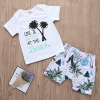 ingrosso insieme di spiaggia dei ragazzi-Baby Boys Beach Set Coconut Palm T-Shirt + Pants Outfit Summer 2019 Kids Boutique Abbigliamento Little Boys Short Sleeves 2 pezzi