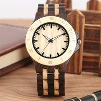 relógio de madeira bracelete venda por atacado-Luxo Relógio De Madeira Dos Homens De Quartzo Natureza Pulseira De Madeira Relógio de Pulso Preto Mostrador da Escala Mens Relógios Pulseira Fecho reloj masculino