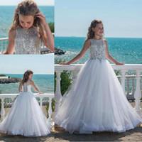 luxuriöse hochzeiten großhandel-Heißer Verkauf Kristall Mädchen Festzug Kleider Mit Für Jugendliche Tüll Bodenlangen Strand Luxuriöse Blumenmädchenkleider Für Hochzeiten Nach Maß