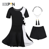 Wholesale set blocks for sale - Group buy IIXPIN Kids Girls Latin Dress Dance wear Outfit Short Sleeves Color Block Dance Dress with Headwear Earrings Tight Shorts Set