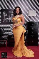 indien kunst großhandel-African India Gold Mermaid Abendkleider mit Überrock Jewel Sweep Zug Pailletten Perlen Formale Abschlussball-Partei-Kleider-Kleid der besonderen Anlässe