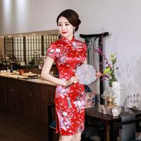 roupas de vermelho chinês venda por atacado-Mulheres tradicional estilo chinês vermelho clothing femme seda formal qipao cheongsam flor de cetim vestido de noiva moderno vestido chino