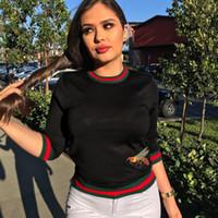 shirts punkte groihandel-2019 Verkauf hohe Elastizität Rippe Mode Biene Stickerei Freizeit Biene T-Shirt 7-Punkt-Ärmel Hemd Damenbekleidung Sweatshirt Pullover