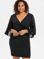 v boyun çizgili kılıf elbisesi toptan satış-Artı Seksi Boyutu Zarif Flare Yarık Kol Kılıf Elbise Rhinestone Süslenmiş V Yaka Siyah Elbise Büyük Boyutları Vestido giysi tasarımcısı