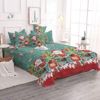 Wholesale bedding set merry christmas for sale - Cartoon Santa Claus Bedding Set Queen Size Merry Christmas Gift Duvet Cover Bed Sheet Snow Reindeer Pillowcase For Kids E