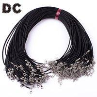 ingrosso braccialetti in pelle nera-DC 20pcs / lot Corda in pelle nera rotonda Corde Diametro 2.5mm Collana a catena con chiusura a moschettone per gioielli artigianali bracciale