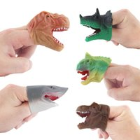 Wholesale funny toys best for sale - Group buy Foreign trade best selling simulation mini silicone dinosaur finger doll Tyrannosaurus fingertip animal finger set funny toy