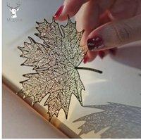 lesezeichen verlassen großhandel-Kreatives Retro goldenes hohles Sycamore verlässt Entwurfs-Metall Bookmark für Buch-Schulstudenten-Vintage Bookmarks schöne Geschenke
