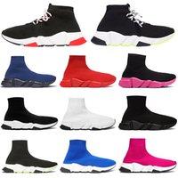 parıltılı bağcıklar toptan satış-Balenciaga 2019 Moda lüks tasarımcı erkek ayakkabı çorap kadın siyah beyaz kırmızı glitter yeşil Düz erkek Hız Eğitmenler sneakers Runner rahat çorap ayakkabı