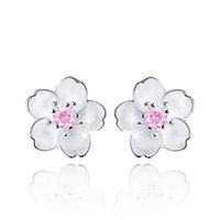 Wholesale ear studs sets resale online - Cute Sterling Silver Cherry Blossoms Flower Set Pink CZ Stud Earrings For Women Girls Kids Jewelry Orecchini Aros Aretes