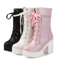 botas de invierno japonesas al por mayor-Otoño e invierno, nuevos zapatos dulces japoneses, terraza impermeable de tacón áspero, botas Martin de tacón alto